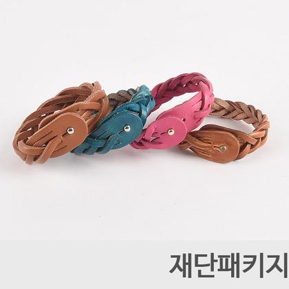 [반제품] 이탈리안 5줄 꼬임 가죽 팔찌