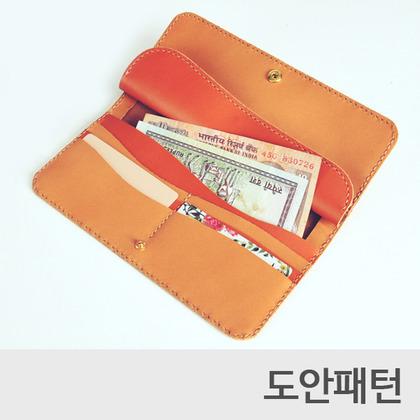 레더 DIY 패턴 슬림라인장지갑