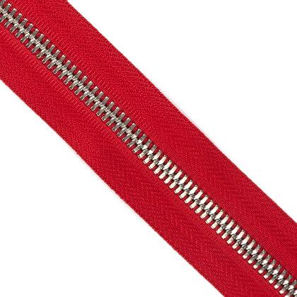 메탈 지퍼 5호 양날 실버 - 519 RED 1M