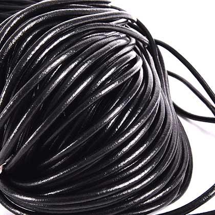 (C) 둥근 가죽끈 6MM - 블랙 90M