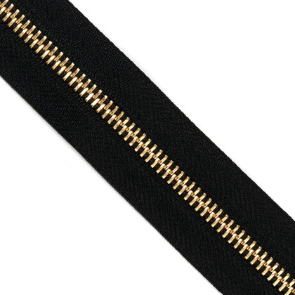 자투리 - YKK 메탈 지퍼 5호 골드 - 580 BLACK