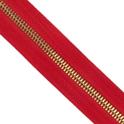 자투리 - 메탈 지퍼 5호 양날 골드 - 519 RED