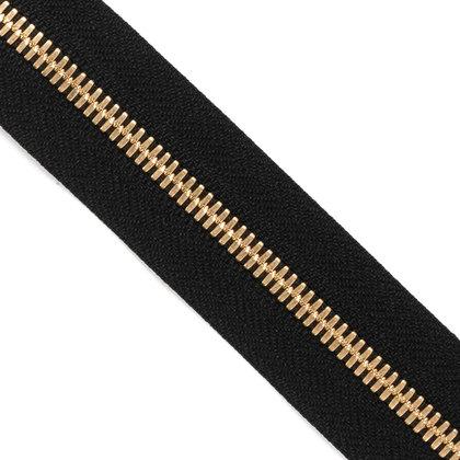 자투리 - YKK 메탈 지퍼 5호 양날 골드 - 580 BLACK