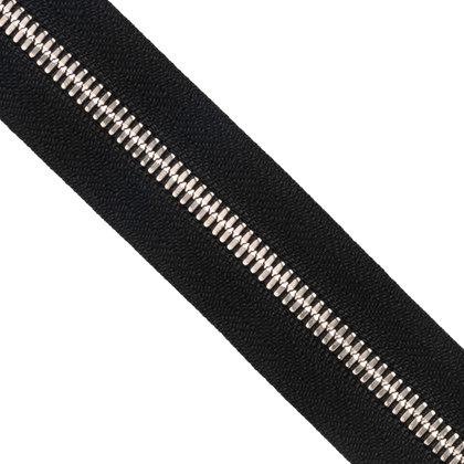 자투리 - YKK 메탈 지퍼 5호 양날 실버 - 580 BLACK