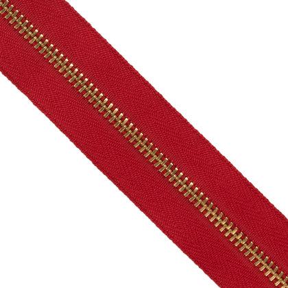 자투리 - 메탈 지퍼 3호 골드 - 519 RED